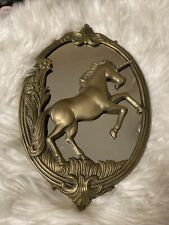 Vintage Unique Brass Unicorn Wall Mirror - Magic Mythical - Very Good-12�