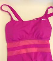 NWT Nike Women's Mesh V-Back One Piece Swimsuit Hot Pink NESS9365 693 Size Large