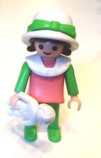 Playmobil Victorian Dollhouse Girl W/ Doll Pink & Green White Collar Hat 5502