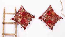 24x24' Red  Patchwork Embroidery Indian Sequin Sari Pillow 2 Pcs Cushion Cover