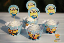 Themed Cupcake Muffin Wrappers & Toppers Cake Baking Decorating x 12 MINIONS
