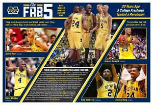 Michigan Basketball's Famous Freshmen 'The Fab Five' 19x13 Commemorative Poster
