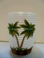 Tropical Bath Palm Trees Tumbler or Kitchen Cup White Banding with Bamboo Base