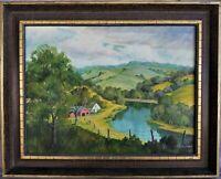Signed Vintage Oil Painting Landscape Rural Marengo Iowa Maude K Willis 1964