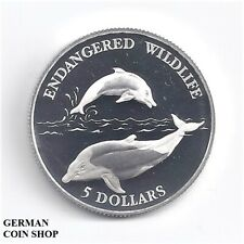 Niue 1992 5 Dollars $ Delfin Silber PP - silver proof dolphin