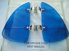 NEW PAIR OF BLUE COLORED VINTAGE STYLE AIR VENT DEFLECTORS !