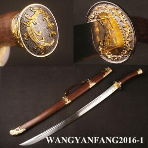 Chinese Sword Phoenix Qing Dynasty Ox-Tailed Dao Folded Steel Rosewood Handle