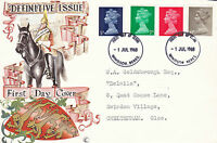 1 JULY 1968 ALL 4 DEFINITIVE VALUES CONNOISSEUR FIRST DAY COVER WINDSOR FDI