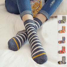 5 Pairs Lot 4 Color Women Girl Cotton Stripped Crew Socks Warm Winter Socks