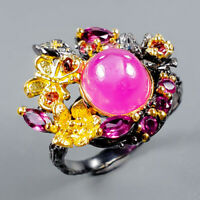 Star Ruby Ring Silver 925 Sterling Vintage9x8mm Size 9 /R129290