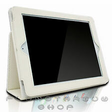 COVER CUOIO PELLE IPAD 2 IPAD 3 BIANCA APPLE SUPPORTO CUSTODIA WHITE + PENNINO