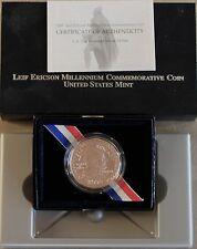 2000 Leif Ericson Uncirculated Silver Dollar U.S. Mint Packaging