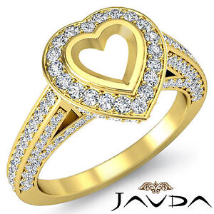 Diamond Engagement Heart Semi Mount Ring 1.25C Pre-Set F-G Color 18k Yellow Gold