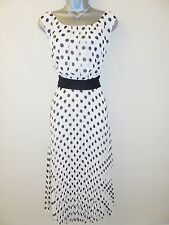 Jacques Vert Black Ivory Polka Spotty Pleated Evening Occasion Dress Size 20