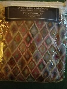 "BN TWIN SIZE BEDSKIRT by BIBB STERLING MANOR Size 39"" x 74"" Multi color"