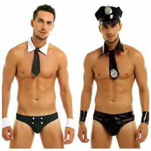 Mens Sexy Police Officier Costume Outfit Brief Cuff Role Play Uniform Halloween