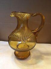 Vintage Amber Glass Fancy Design Pitcher