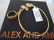 Alex and Ani QUEEN'S CROWN Russian Gold Charm Bangle New W/ Tag Card & Box