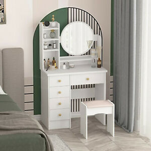 Dressing Table With Mirror & Stool Makeup Desk Vanity 5 Drawer & Shelves Bedroom