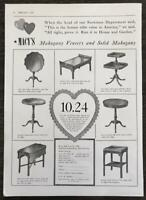 1939 Macy's Department Store NYC Print Ad Mahogany Tables Valentine's Day