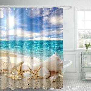 Fabric Shower Curtain Sunshine Beach Bathroom Washroom Long Standard W/Hooks