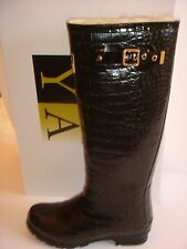 SALE RRP £125! Fully sheepskin lined calf high black patent wellies/boots size 6