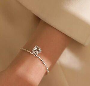 925 Sterling Silver Heart Bracelet Link - Adjustable