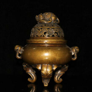 Collectibles Chinese Brass Incense Burner Decoration Brass Elephant Statue AP137