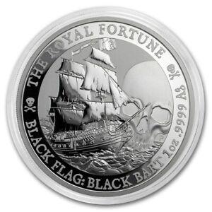 2020 Tuvalu 1 oz Silver Black Flag (The Royal Fortune) 9999 Fine Silver Coin