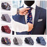 Fashion Men New Floral Print Tie Suit Skinny Ties Slim Cotton Flower Neck Tie