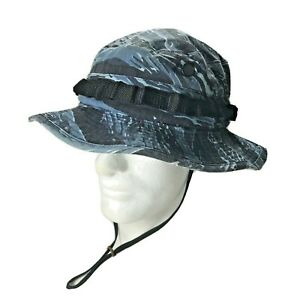 Army Hot Weather Bucket Hat Signed Blue Camo Size 7 1/4