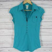 Diesel Top Shirt Womens XS Green Collar Cap Sleeve Pocket Golf