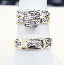 10kt Yellow Gold His Hers Men Woman Diamonds Square Pave Wedding Ring Trio Set