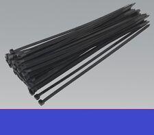 NEW 80g (50) x nylon plastic Black Cable zip ties, 4.8mm wide, x 250mm long.UK