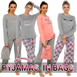 Ladies Pyjamas Set Nightwear Pjs Soft Loungewear PJS IN A BAG GIFT XMAS