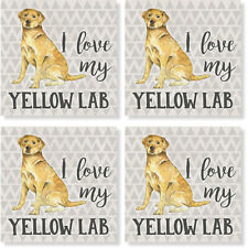 """New listing Set of 4 """"Yellow Labrador"""" Square Stone Coasters w/Cork Back by Carson"""
