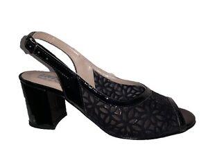 ENVAL SOFT 5257500 Sandal Shoes Heel Lace Clear Leather Women Black