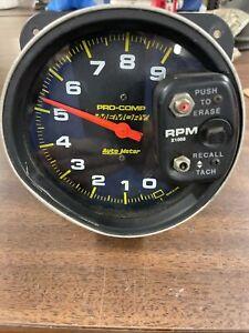 AUTO METER AUTOMETER PRO COMP MEMORY TACH TACHOMETER 9,000 RPM Damaged Works