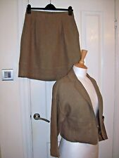 Beautifully Tailored JIGSAW Kharki Linen Skirt Suit UK 8