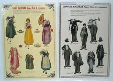 CHARLIE CHAPLIN and MARY PICKFORD Embossed Paper Doll Sheets Merrimack 1980's