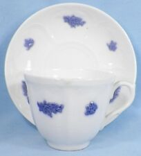 Antique Chelsea Blue Grape Cup & Saucer Porcelain Adderley England Ca 1900 Nice