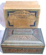 SUPERB RARE BOXED VINTAGE HUNTLEY & PALMERS BISCUITS TIN SANDALWOOD CASKET 1924
