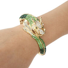 Dragon Loong Animal Bracelet Bangle Cuff Green Austrian Crystal Gold Plated Gift
