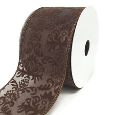 Velvet Fleur-De-Lis Sheer Wired Ribbon, Chocolate, 2-1/2-Inch, 10-Yard