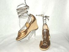 ANTONIO MELANI ~ BRAZIL ~ Bronze Leather Ankle Wrap Espadrilles Sz 7M *VERY GOOD