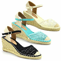 Ladies Womens New Satin Lace Mid Wedge Heel Espadrilles Summer Sandals Shoe Size