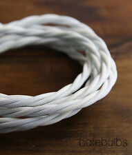 Twisted coloured fabric lighting cable flex: White - vintage - sold per metre
