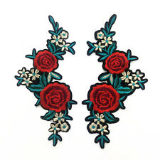 1 Pair Red Rose Pin Embroidered patches Iron on Patches Green Branches White