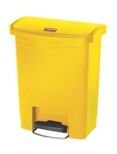 RUBBERMAID SLIM JIM RESIN FRONT PEDAL STEP ON 30L WASTE BIN YELLOW 1883573