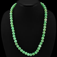 DEMANDED 318.00 CTS NATURAL UNTREATED GREEN JADE ROUND BEADS NECKLACE - (DG)